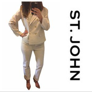 St. John nautical white seersucker pantsuit set 10
